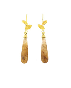 Rutilated Quartz and Leaf Earrings