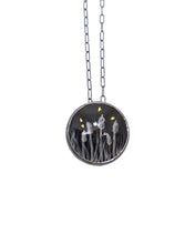 Load image into Gallery viewer, Round  Enamel Cattail Pendant