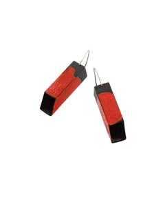 Red Rectangular Tube Earrings