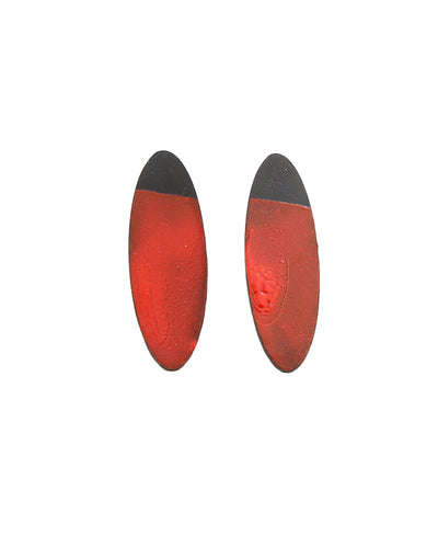 Red Oval Dip Earrings