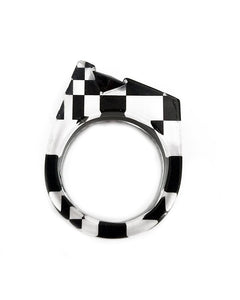 Black and White Channel Set Ring