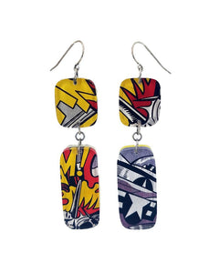 "Lichtenstein ""Wham"" Double Dangle Earrings"