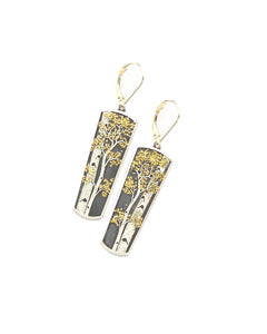Aspen Earrings, Framed, with gold leave backs