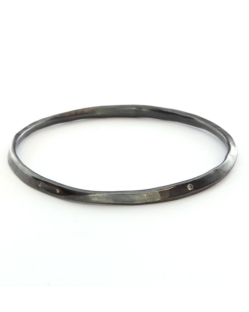 Oval Hammered Twist Bangle with Grey Diamonds