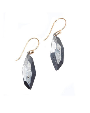 Flat Faceted Earrings with White Sapphires