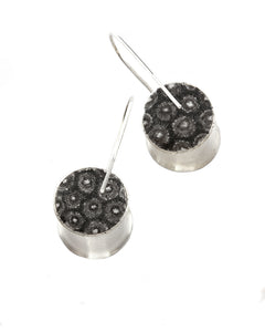 Round Drop Earrings with Drawing