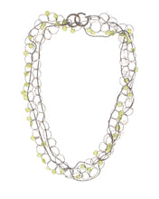 Load image into Gallery viewer, Long Oval Link Necklace with Peridot and Moonstone
