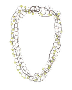 Long Oval Link Necklace with Peridot and Moonstone