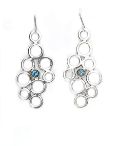 Topaz Circle Cluster Earrings