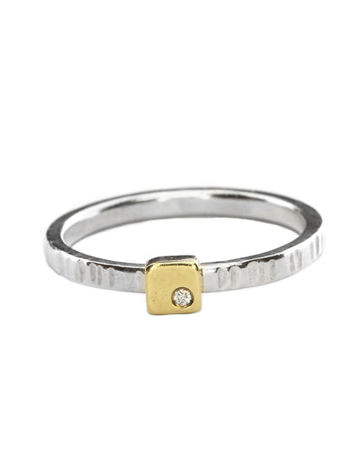 Stacking Square Cell Ring in yellow