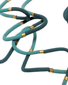 Turquoise and Gold Squiggle Necklace