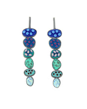 Load image into Gallery viewer, Pebble Earrings #344 blue stacked