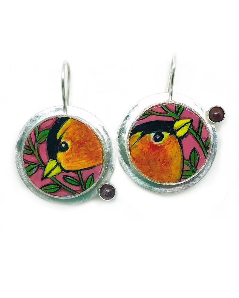 Ruby Birds Earrings