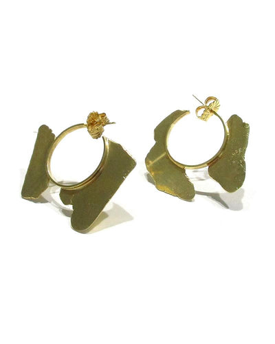 Torn Pieces Hoop Earrings Gold