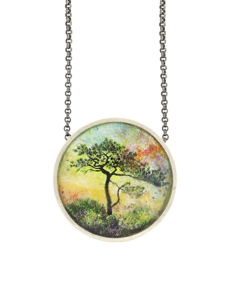 Magical Morning enamel jewelry landscape