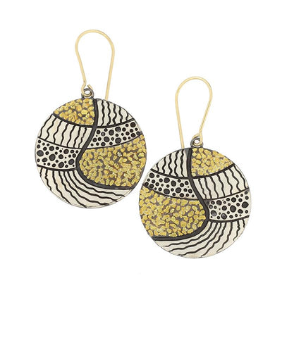 Abstract Earrings  contrasting silver and gold
