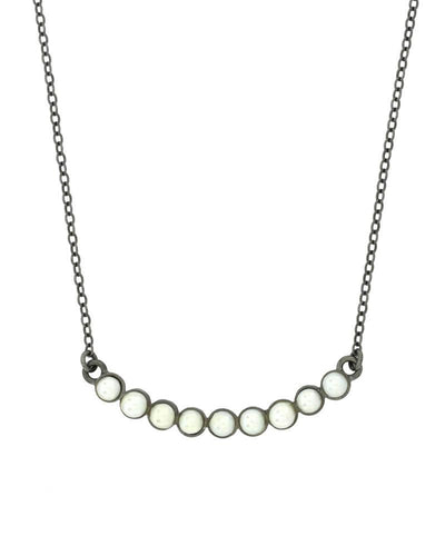 Oxidized Silver and pearl necklace