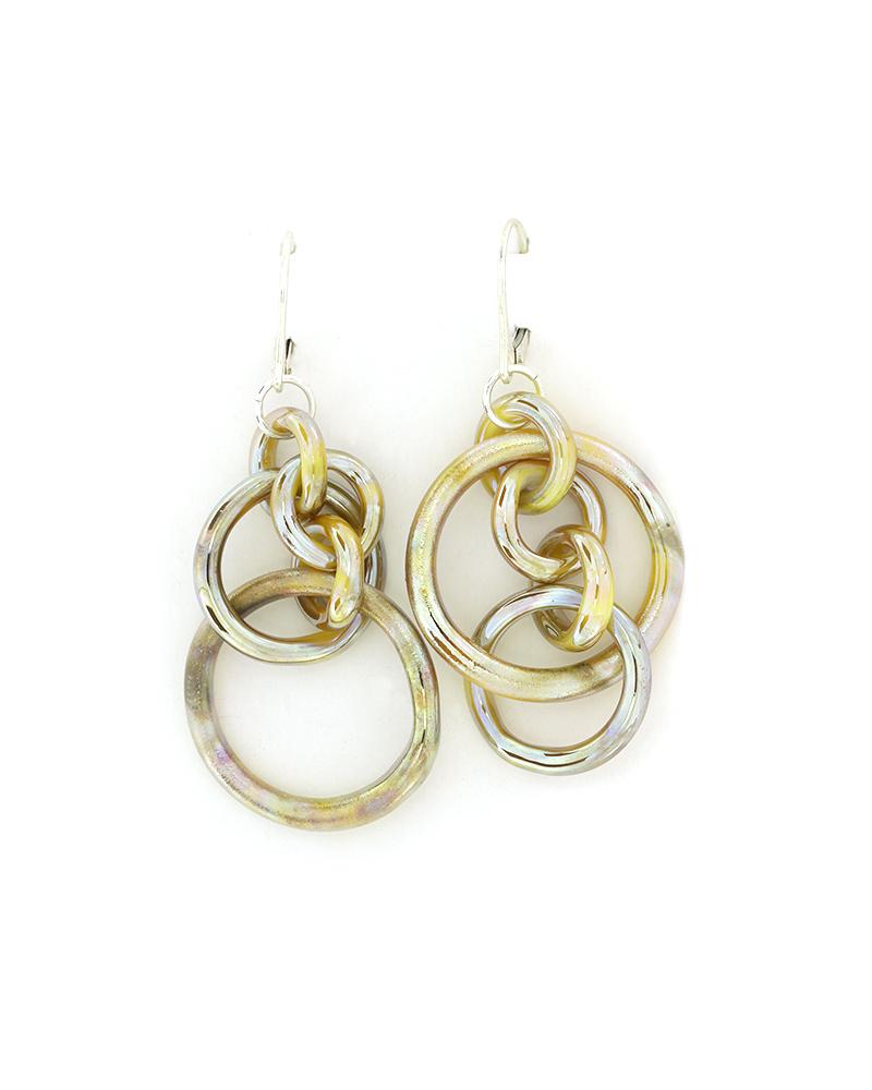 Silver fumed white circles glass earrings