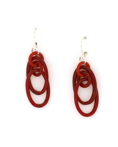 Red oval  glass earrings