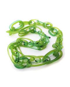 Green chain  glass necklace