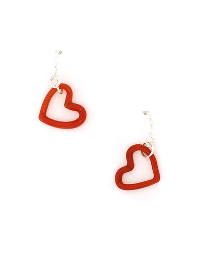 Small glass  red hearts earrings