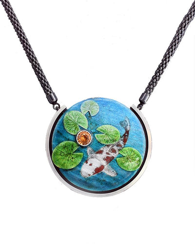 Water Lilies and Koi Pendant