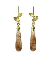Load image into Gallery viewer, Rutilated Quartz and Leaf Earrings