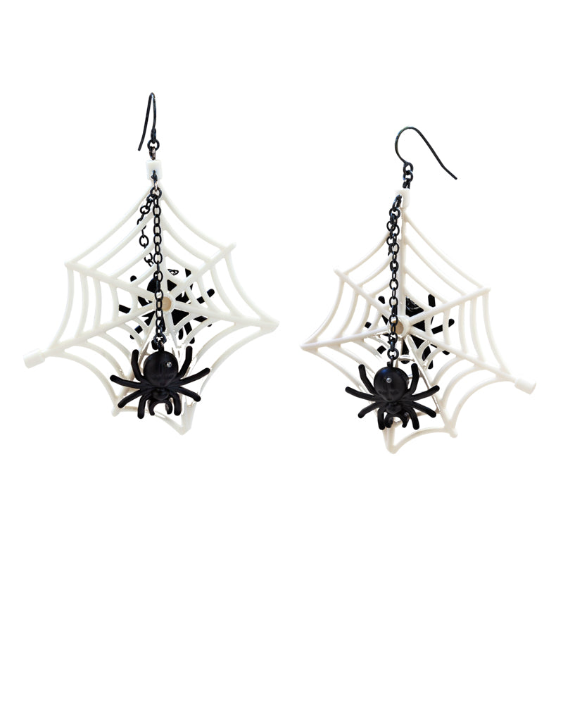 Wicked White Web Earrings