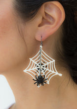 Load image into Gallery viewer, Wicked White Web Earrings