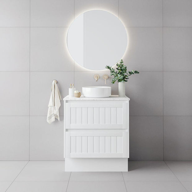 Bayside 750mm Vanity Cabinet Matte White w/ Top