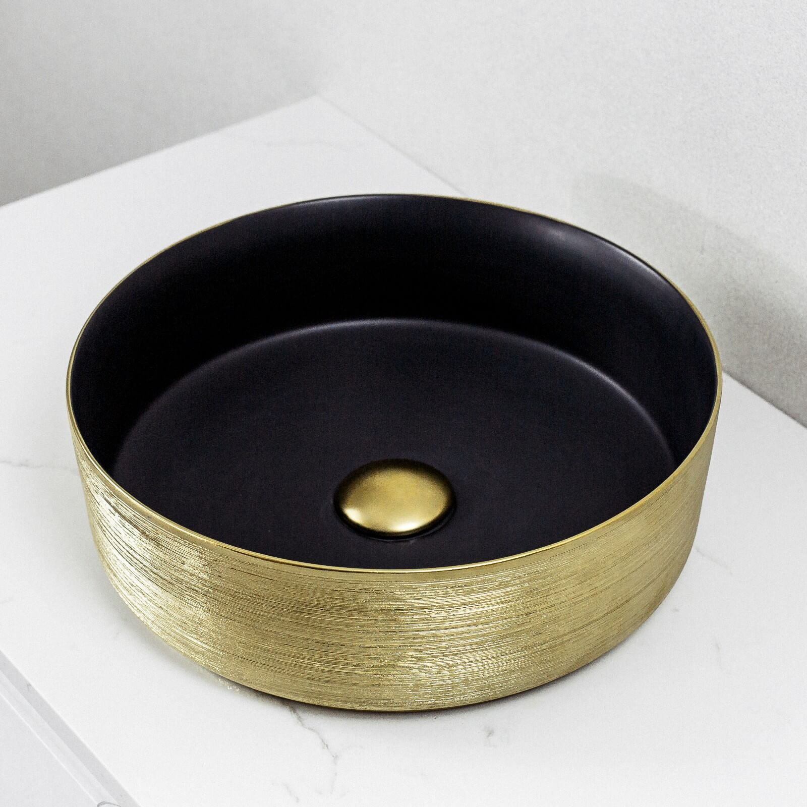 Aura Above Counter Basin Matte Black and Gold Brushed