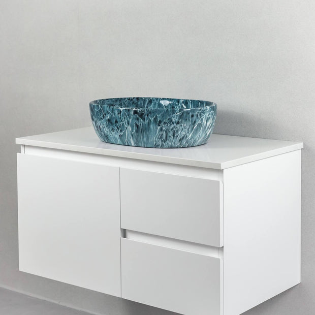 Santorini Above Counter Basin Jade Green Marble