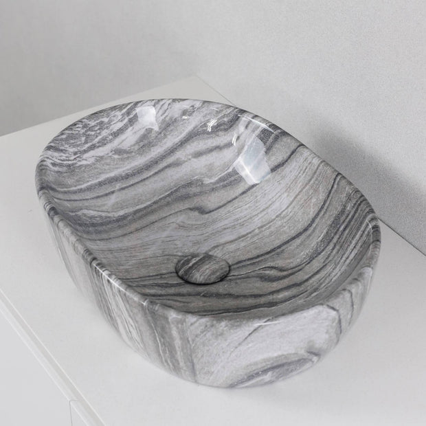 Santorini Above Counter Basin Milano Grey Marble