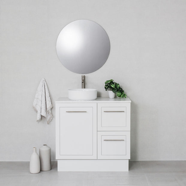 Hampton 900mm Freestanding Vanity Cabinet Matte White w/ Carrara White Stone Top