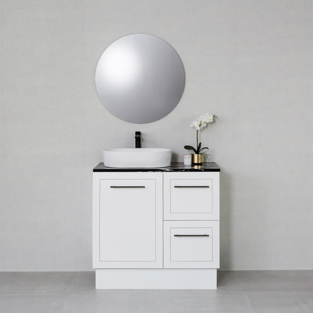 Hampton 900mm Freestanding Vanity Cabinet Matte White w/ Marquina Black Stone Top