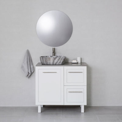 Hampton 900mm Freestanding Vanity Cabinet Matte White w/ Portland Grey Stone Top