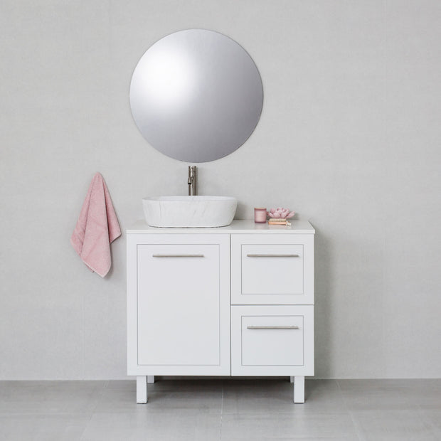 Hampton 900mm Freestanding Vanity Cabinet Matte White w/ Snow White Stone Top
