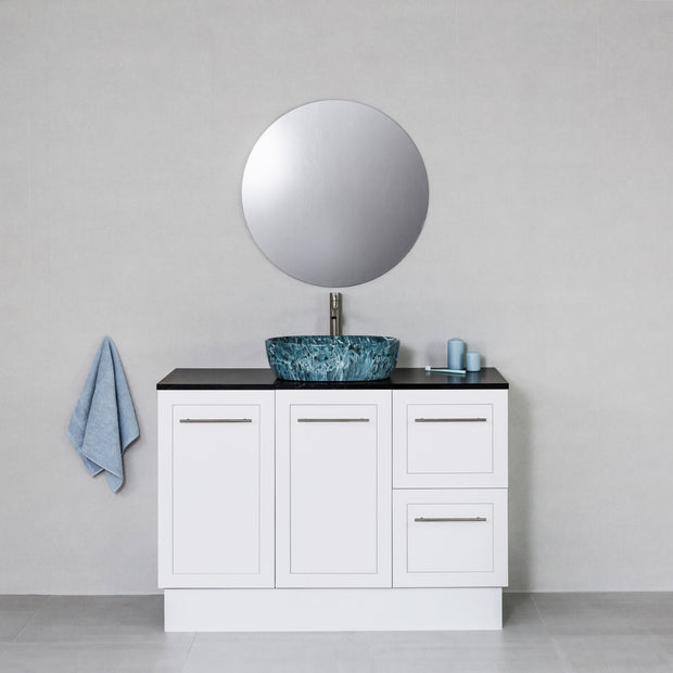 Hampton 1200mm Freestanding Vanity Cabinet Matte White w/ Carrara Black Stone Top