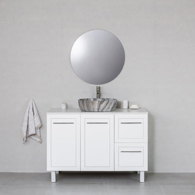 Hampton 1200mm Freestanding Vanity Cabinet Matte White w/ Carrara White Stone Top