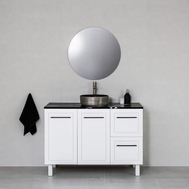 Hampton 1200mm Freestanding Vanity Cabinet Matte White w/ Marquina Black Stone Top
