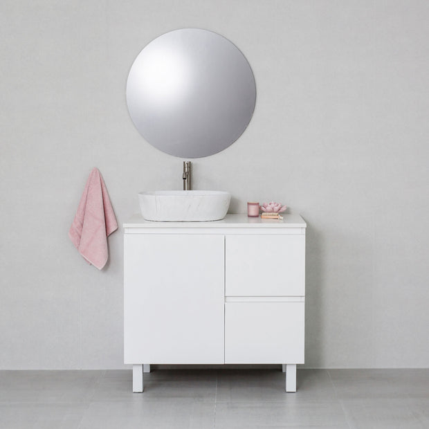 Moda 900mm Freestanding Vanity Cabinet Semi-Gloss White w/ Snow White Stone Top