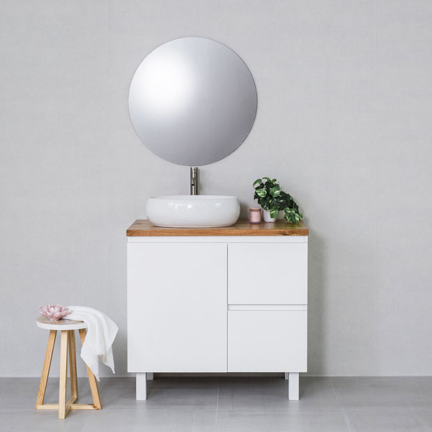 Moda 900mm Freestanding Vanity Cabinet Semi-Gloss White w/ Natural Oak Timber Top