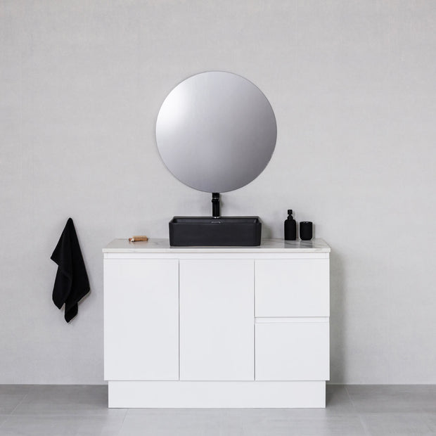 Moda 1200mm Freestanding Vanity Cabinet Semi-Gloss White w/ Calacatta White Stone Top