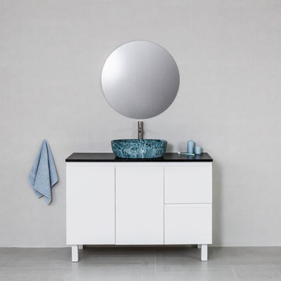 Moda 1200mm Freestanding Vanity Cabinet Semi-Gloss White w/ Carrara Black Stone Top