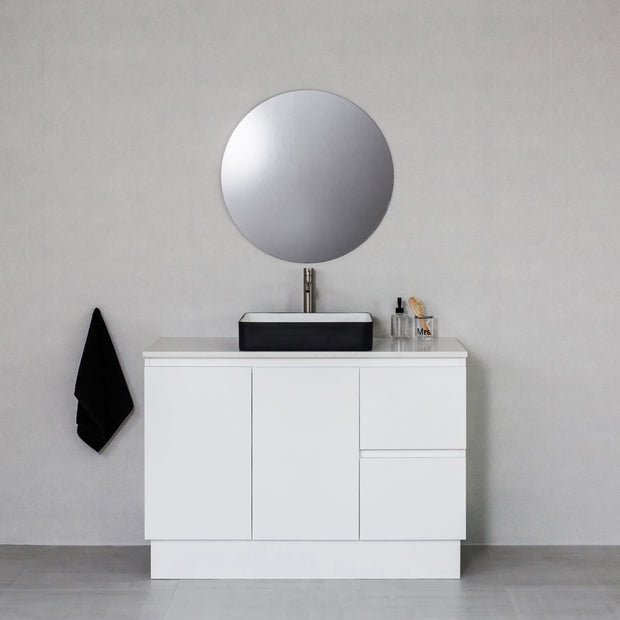 Moda 1200mm Freestanding Vanity Cabinet Semi-Gloss White w/ Carrara White Stone Top