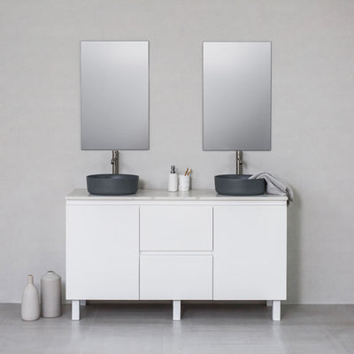 Moda 1500mm Freestanding Vanity Cabinet Semi-Gloss White w/ Calacatta White Quartz Stone Top