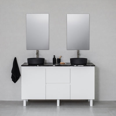 Moda 1500mm Freestanding Vanity Cabinet Semi-Gloss White w/ Marquina Black Quartz Stone Top