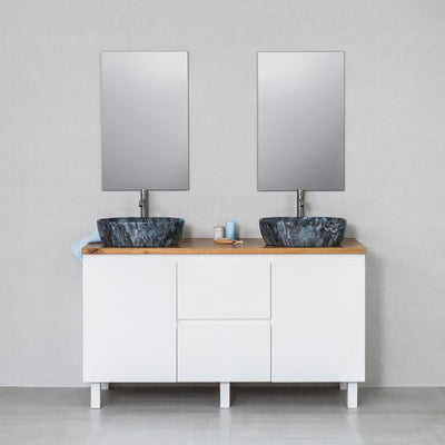 Moda 1500mm Freestanding Vanity Cabinet Semi-Gloss White w/ Natural Oak Timber Top