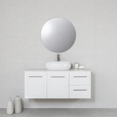 Hampton 1200mm Wall Hung Vanity Cabinet Matte White w/ Calacatta White Quartz Stone Top