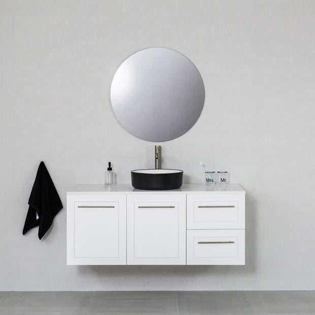 Hampton 1200mm Wall Hung Vanity Cabinet Matte White w/ Carrara White Quartz Stone Top
